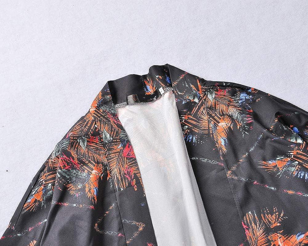 Hombre Manga 3//4 Japon/és Haori Estampado Abrigo Capa B/ásico Kimono Cardigan