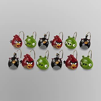 Curtains Ideas bird shower curtain hooks : Amazon.com: Angry Birds Shower Curtain Hooks: Home & Kitchen