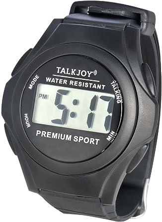Reloj de pulsera con voz impermeable para personas mayores con función de voz, mensaje de hora, despertador, resistente a las salpicaduras, con indicación de tiempo
