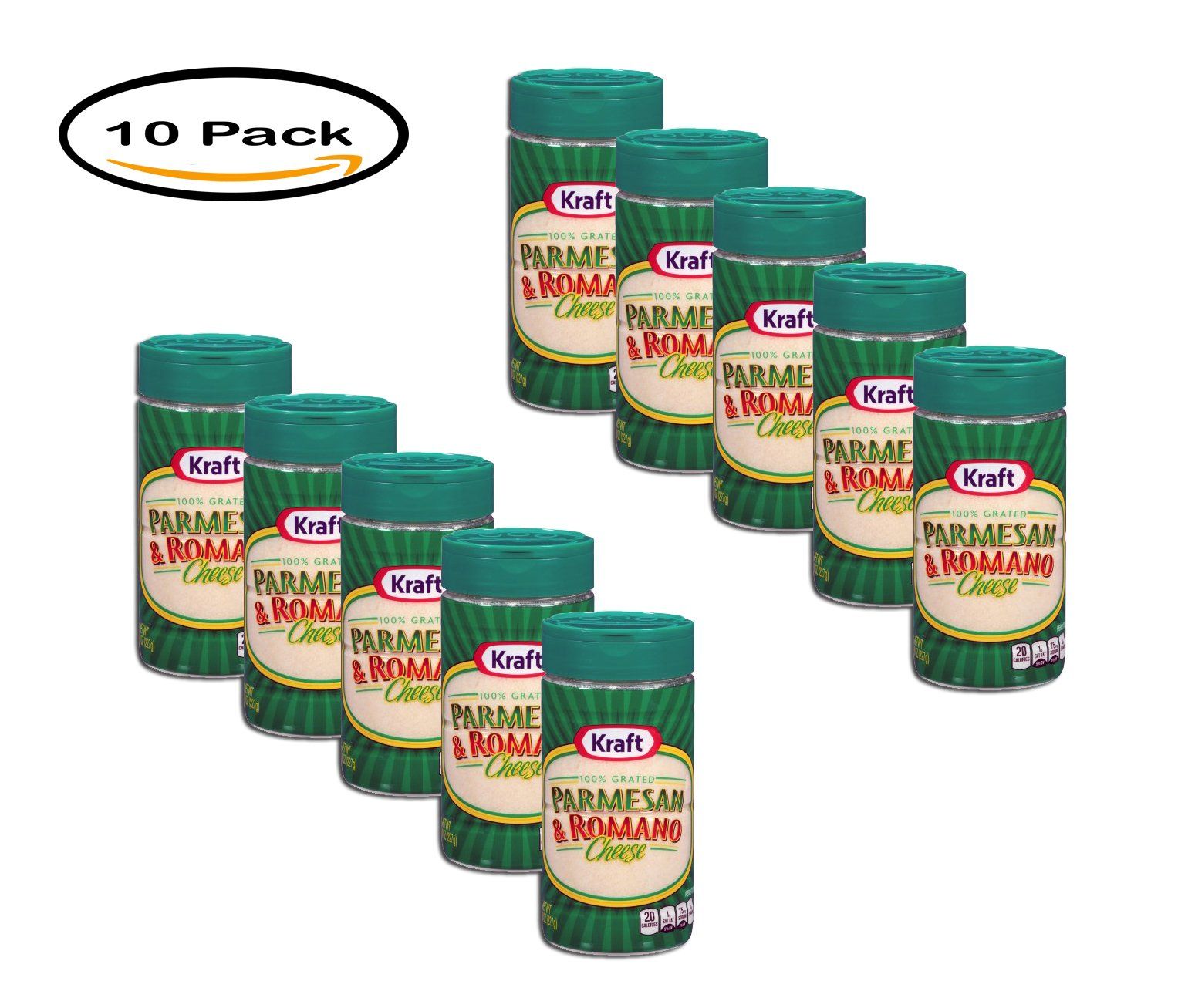 PACK OF 10 - Kraft Grated Parmesan & Romano Cheese, 8 Oz