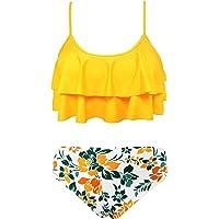 SHEKINI Niña Traje de Baño de Dos Piezas Ruffle Bikini Bañadores Impresos Traje de Baño