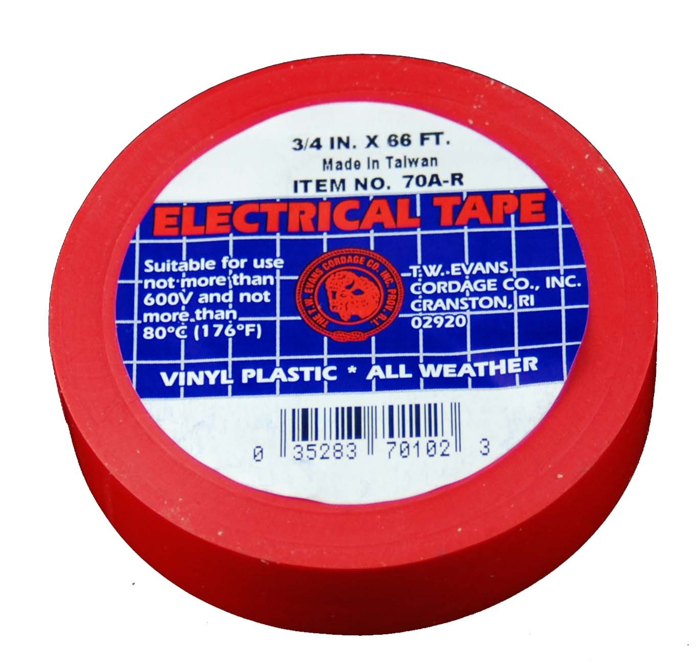 Evans Cordage Co. T.W Evans Cordage 70A-R Red Electrical Tape 3//4-Inch x 66-Feet 10-Pack T.W