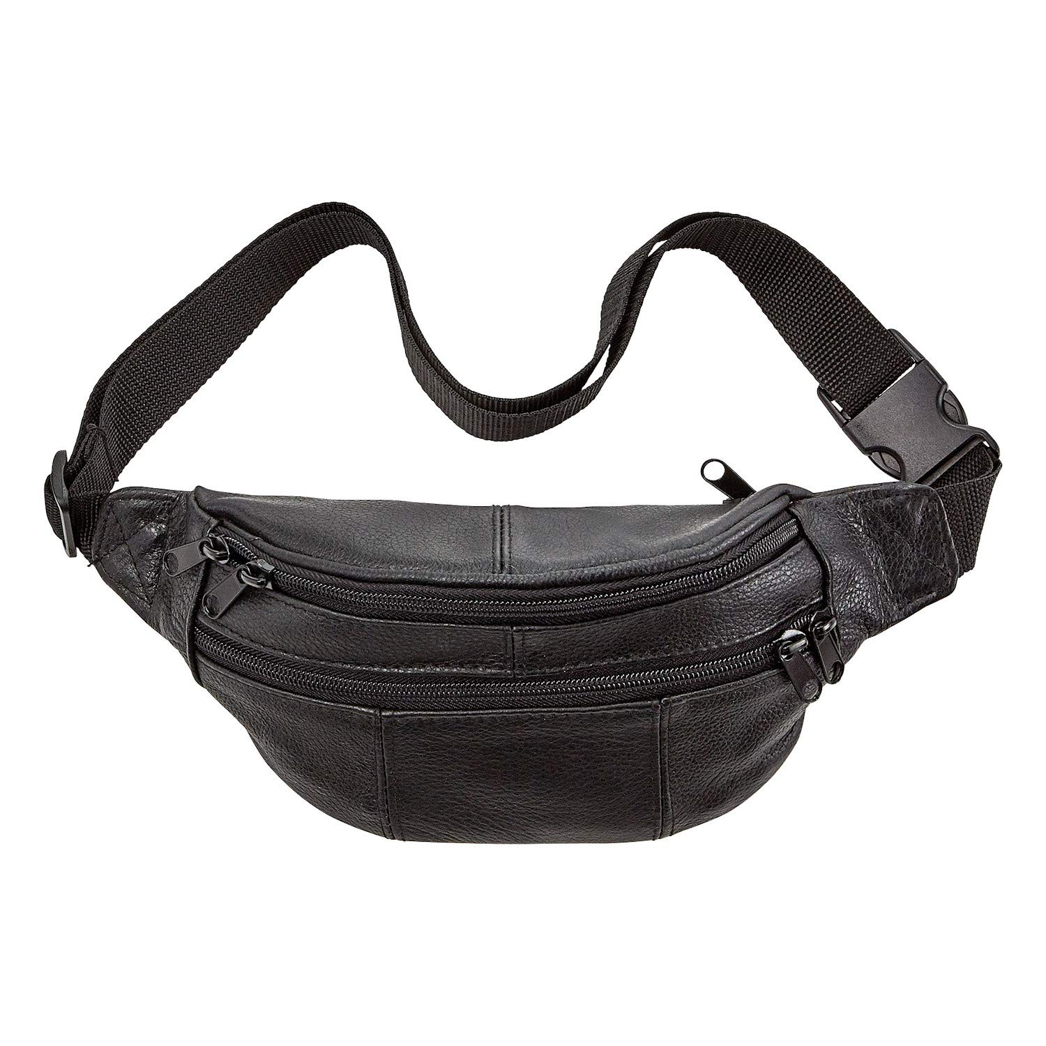 AmeriLeather Leather Fanny Pack (Black)
