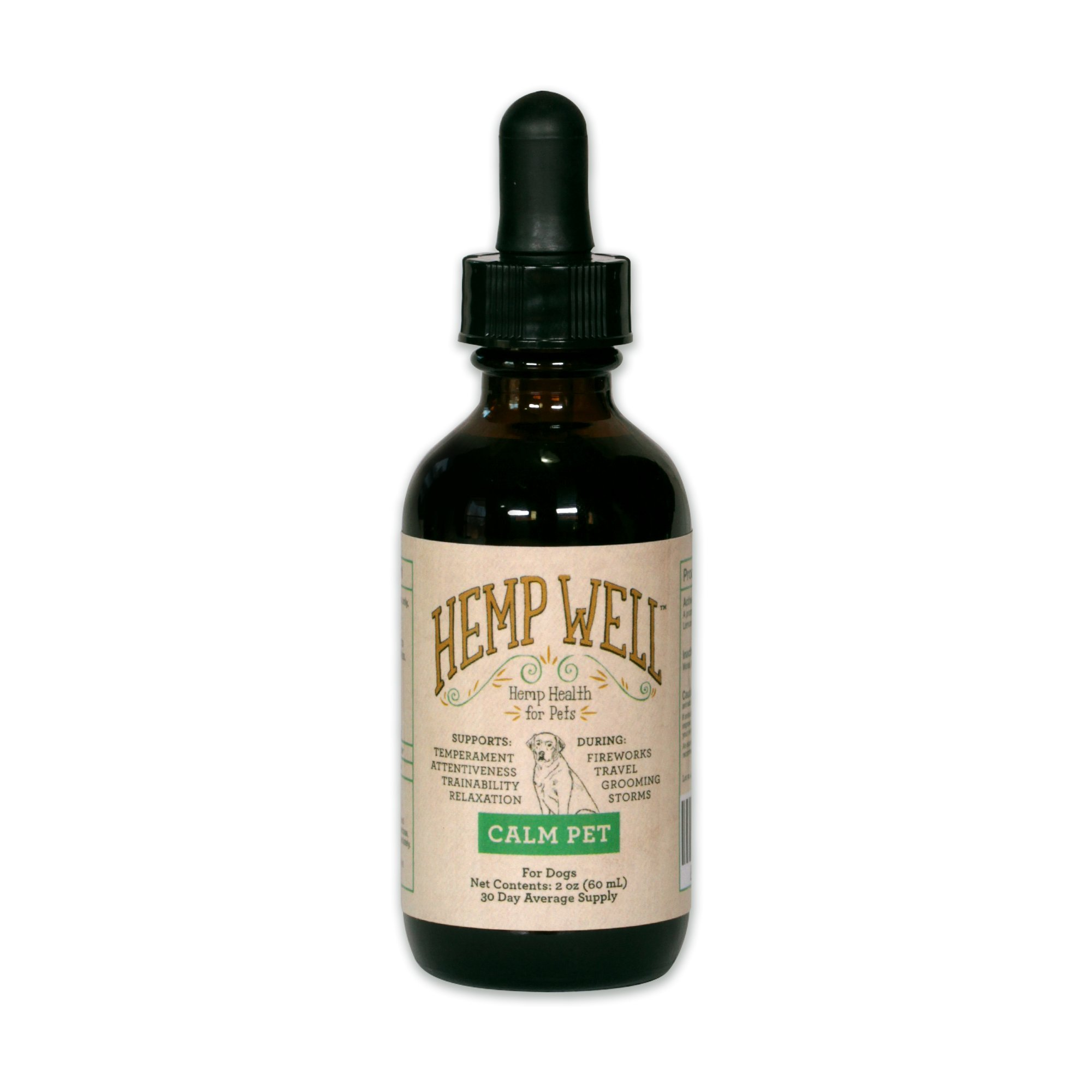 CALM PET (2 oz) - Hemp Well helps keep your pet calm and relaxed. Stress, Temperament, Trainability, Relaxation and more. Natural and Organic Relief For Dogs.