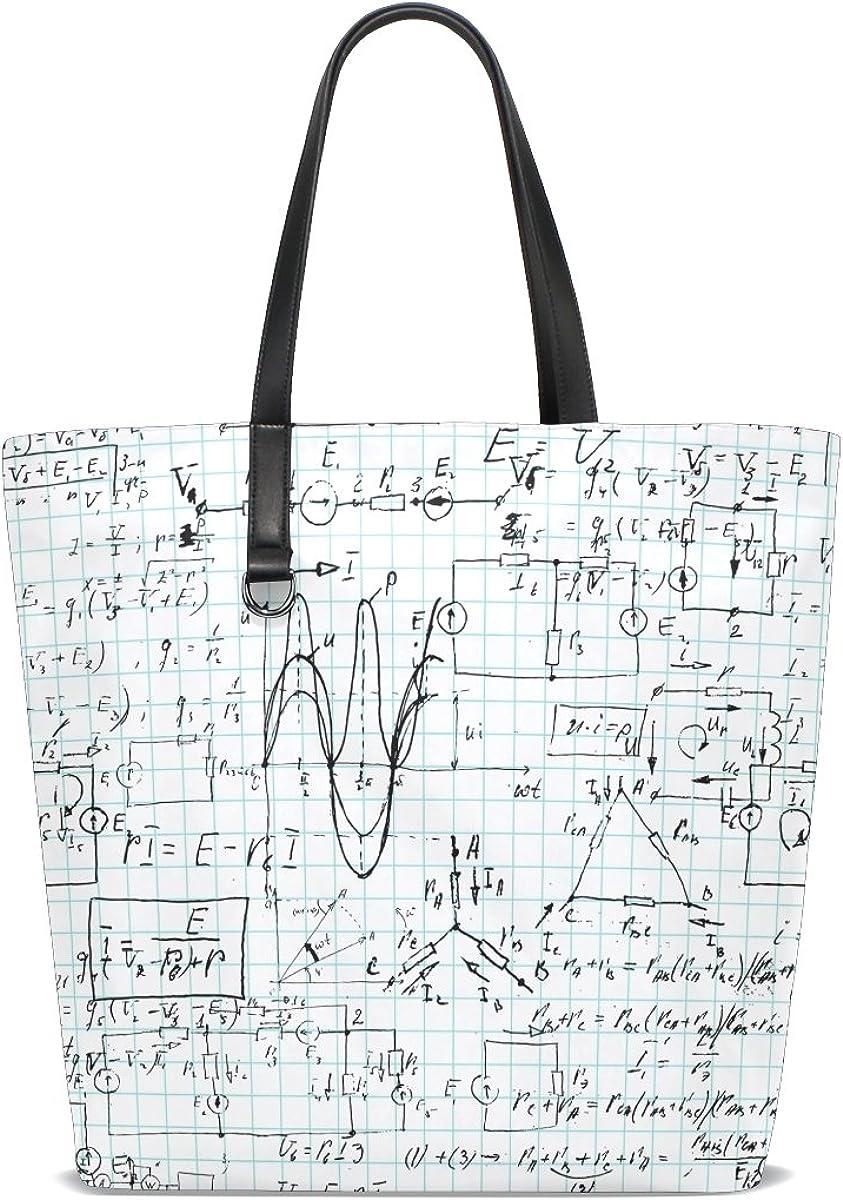 Handbags for Women Mathematical Formula Tote Shoulder Bag Satchel for Ladies Girls