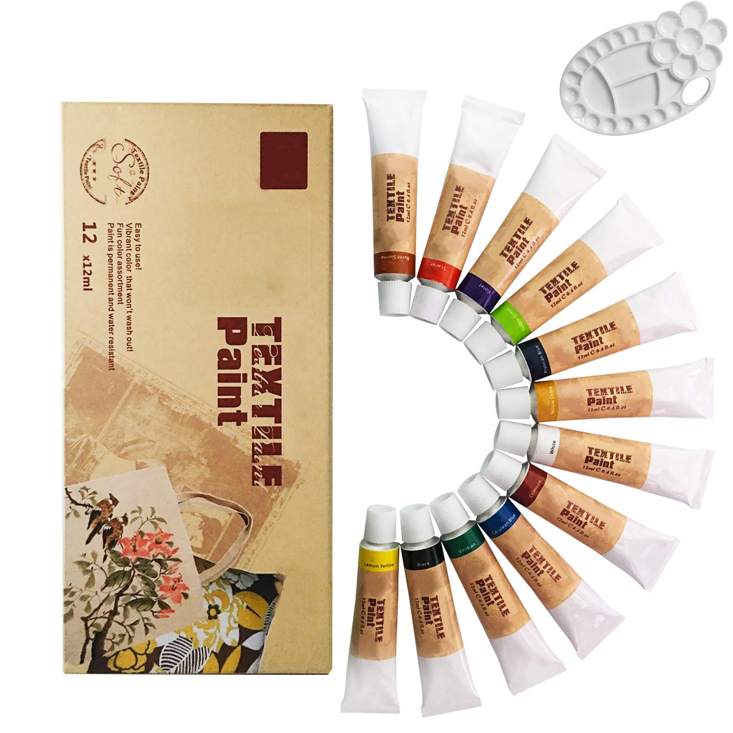 Lasten Fabric Paint Set With Palette, Permanent Textile Paint Art Dye for Fabric Canvas Wood Ceramic Glass T-shirts Clothes (12 colors X 0.4 fl.oz) Lasten-US