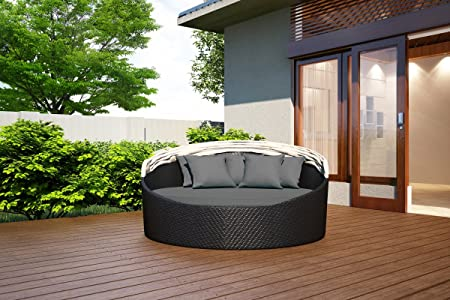 Harmonia Living Wink Wicker Outdoor Round Daybed with Gray Sunbrella Cushion SKU HL-WINK-CB-DB-CC