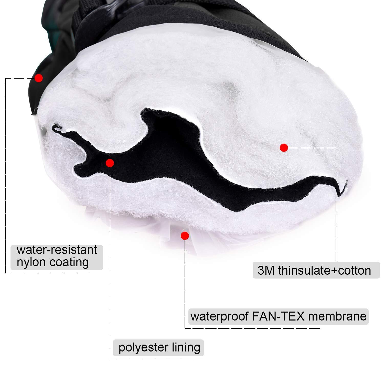 EXski Guanti da Sci Uomo Tre Dita Caldo Muffole Moto Invernali Snowboard Impermeabile Guanti Lavoro Neve Tempo Freddo Termico Thinsulate Antivento Nero