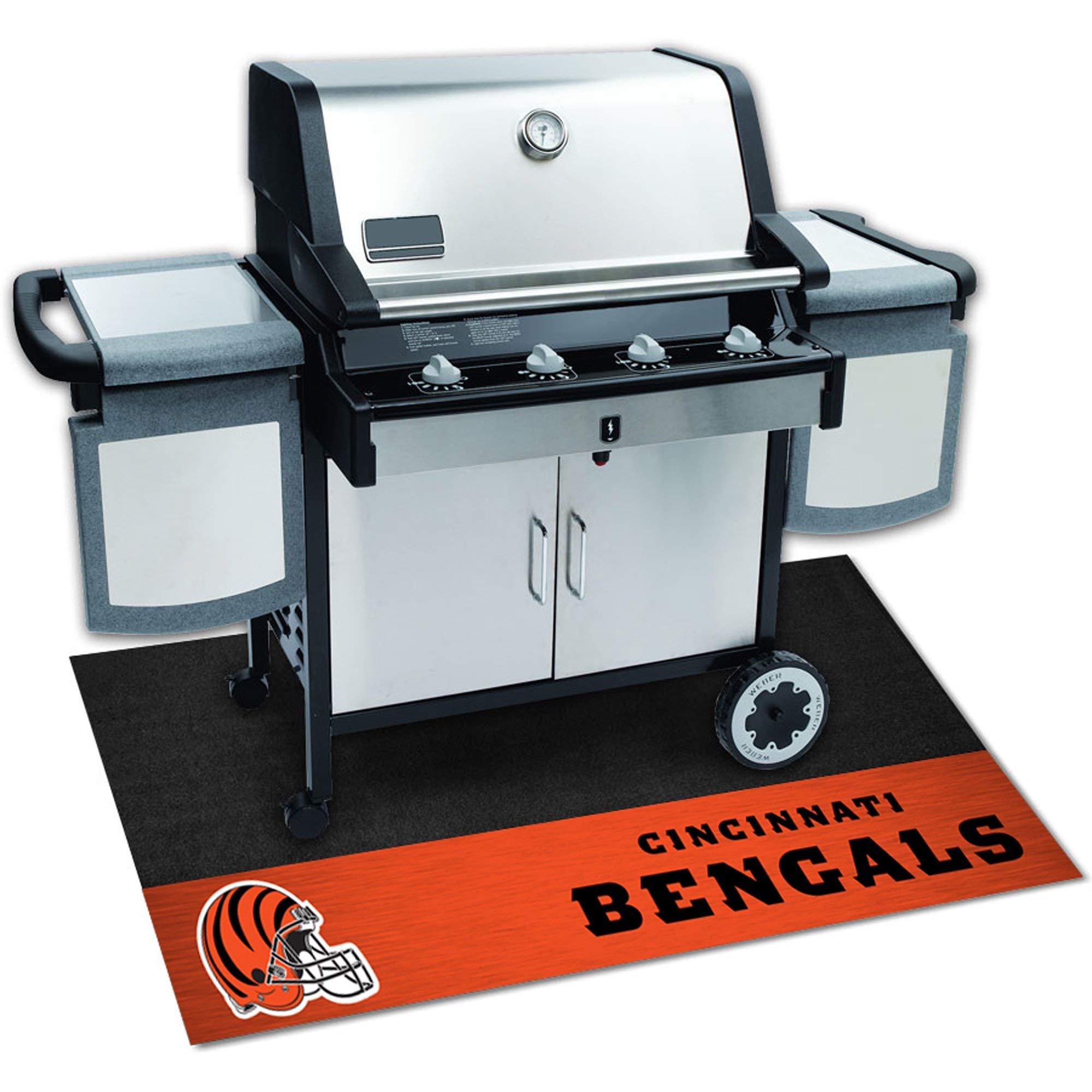2.2' X 3.6' Ft Black Orange NFL Cincinnati Bengals Grill Mat, Football Themed Rectangle BBQ Grill Mat Carpet Team Logo Merchandise Fan Grilling Mat Athletics Team Spirit Fan, Vinyl