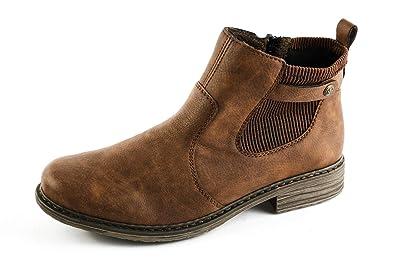 Rieker Damen Komfort Chelsea Boots Gefüttert Braun Gr. 37
