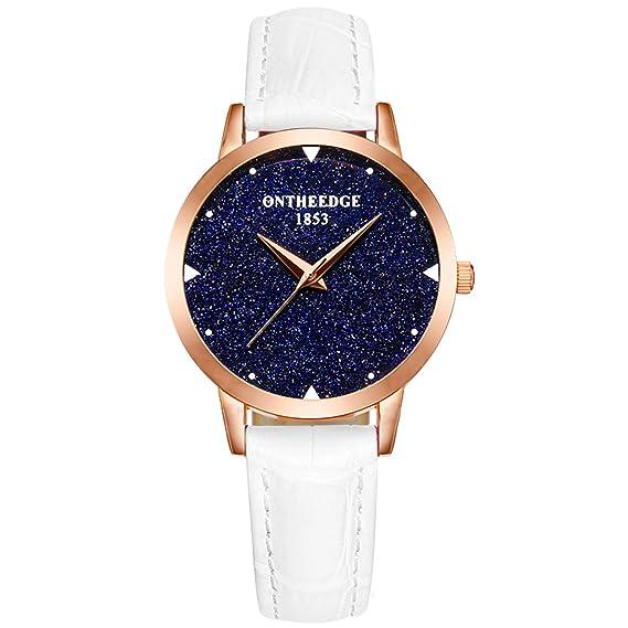 RORIOS Moda Mujer Relojes de Pulsera Cielo Estrellado Cuero Band Relojes de Mujer Impermeable: Amazon.es: Relojes
