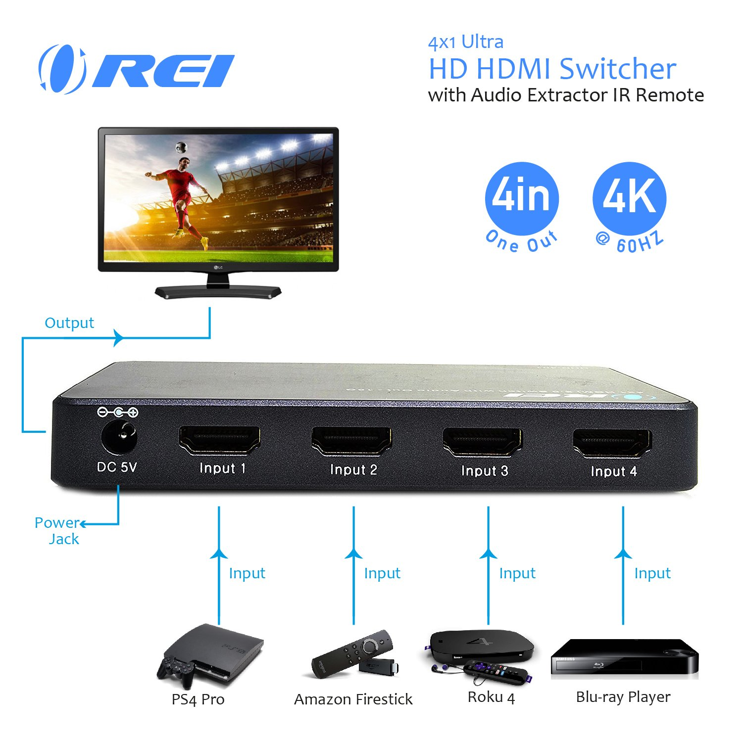 OREI 4 X 1 Ultra HD HDMI Switcher With Audio Extractor IR Remote - Supports Upto 4K @ 60Hz - (4 Input, 1 Output) Switch, Hub, Port for Cable, HD TV, Laptop, MacBook & More by OREI (Image #2)
