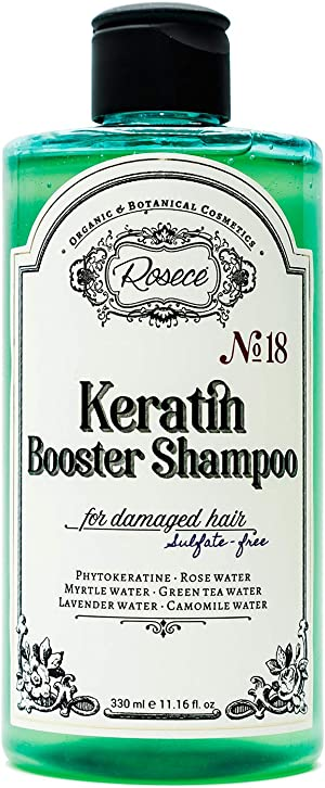 Rosece Natural Keratin Booster Shampoo for Damaged Hair - Sulfate Free, 11.16 fl oz