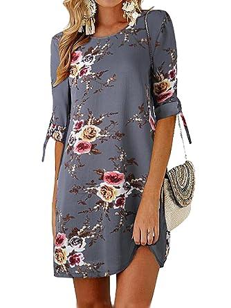 detailed look c1961 0a127 GARYOB Damen Sommer Kleid Büro Lässig Blumen Tunika Sommerkleider Minikleid  mit 3/4 Ärmel(S-XXXXL)