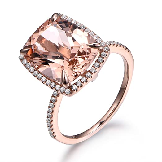 10x12mm Cushion Big Pink Morganite Engagement Ring 14k Rose Gold
