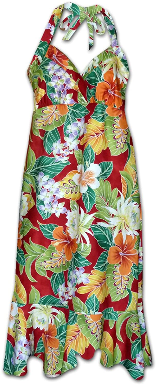 Pacific Legend   Original Hawaiikleid   Damen   S - XXL   Sommer   Hawaii-Print   Blumen   Rot