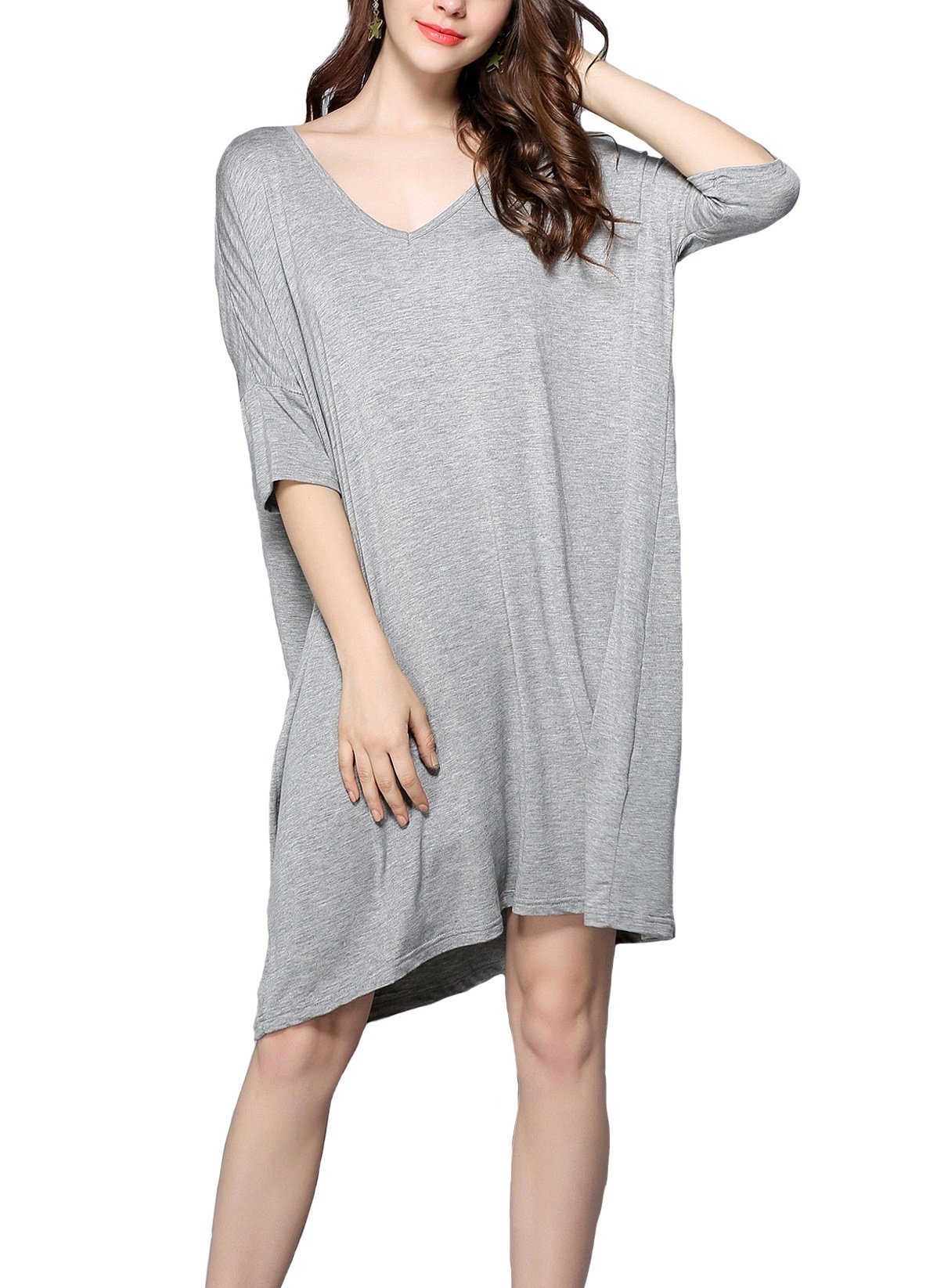 Lealac Women's Cotton V-Neck Short Sleeve T-Shirt Dress Plus Size Loose Breathable Sleepwear Nightwear 5325 Gray S