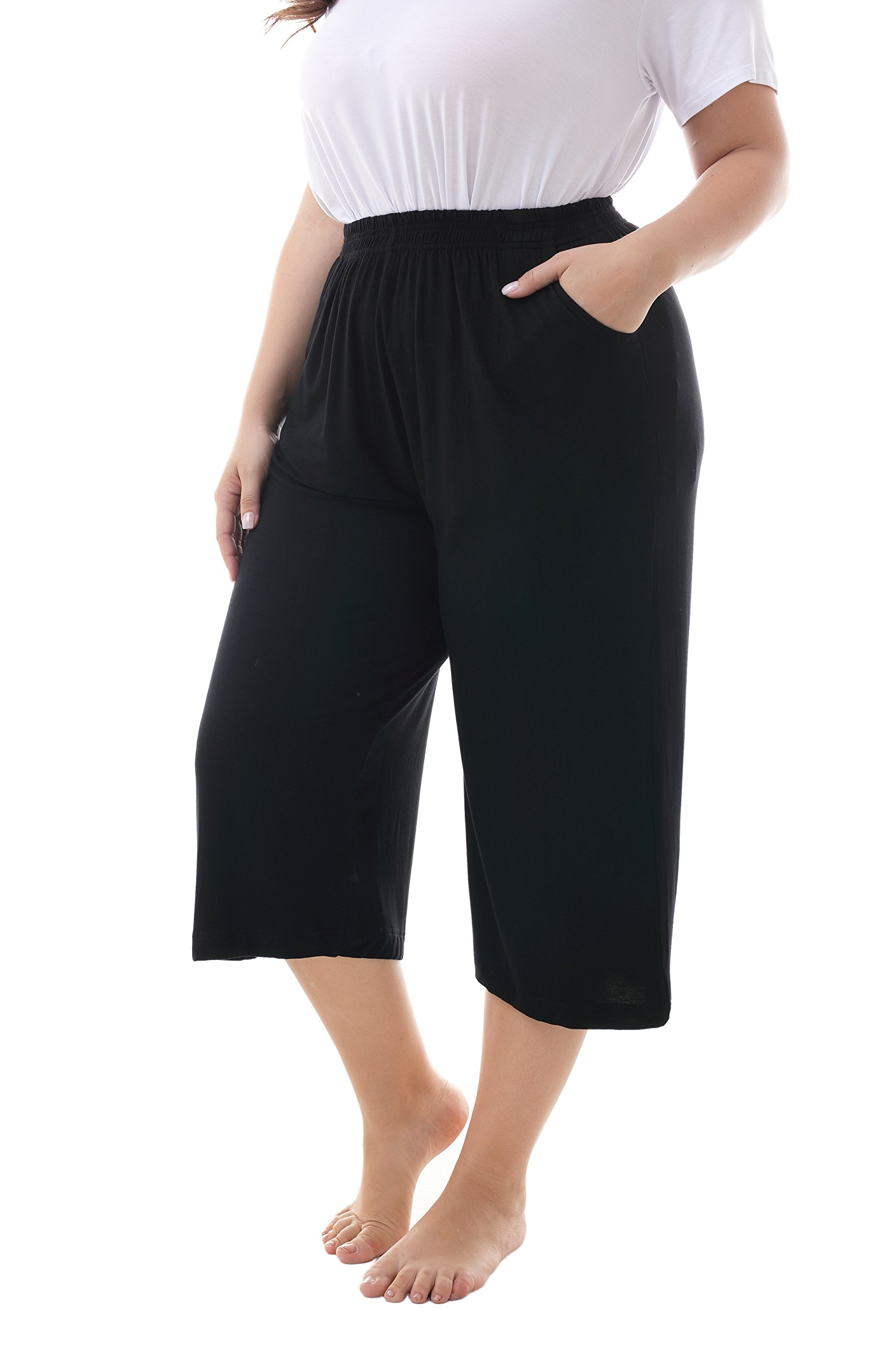 ZERDOCEAN Women's Plus Size Modal Stretchy Relaxed Lounge Capris with Pockets Black 1X