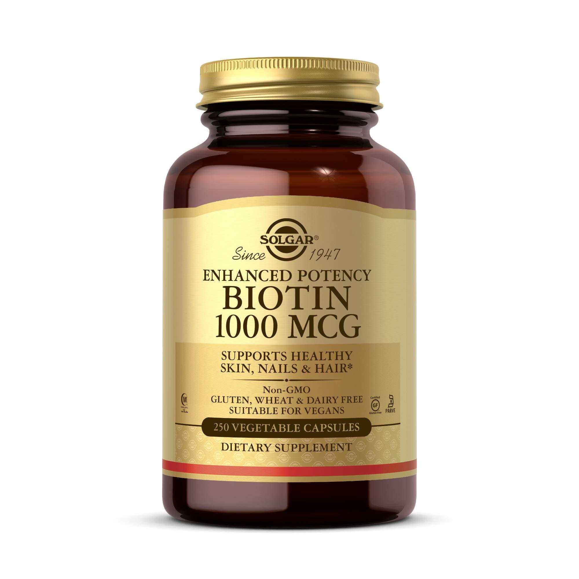 Solgar Biotin 1000 mcg, 250 Vegetable Capsules - Supports Healthy Skin, Nails & Hair - Energy Metabolism - Enhanced Potency - Non-GMO, Vegan, Gluten Free, Dairy Free, Kosher, Halal - 250 Servings