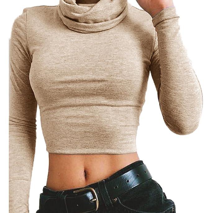 Smalltile Verano Mujeres Cuello Alto Camisetas de Manga Larga Esbelto Corto Remata Blusa Moda Clásico Colores Lisos Crop Top T Shirt: Amazon.es: Ropa y ...