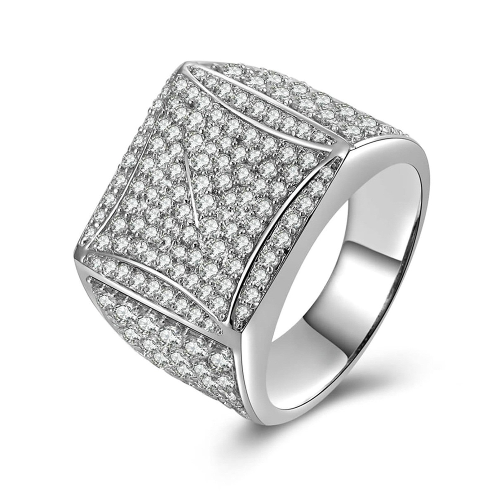 Beydodo Ring Engagement Diamond Iced Out Ring Round White Cubic Zirconia Size 11 Anniversary Gift