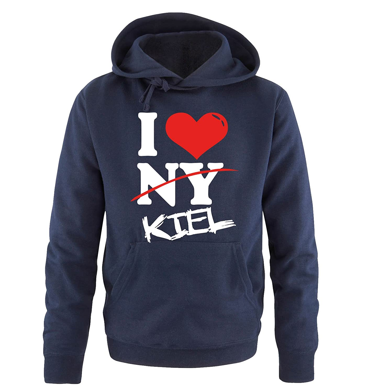 Comedy Shirts I LOVE KIEL S bis XXL Diverse Farben Herren Hoodie Kapuzensweatshirt Gr NOT NY
