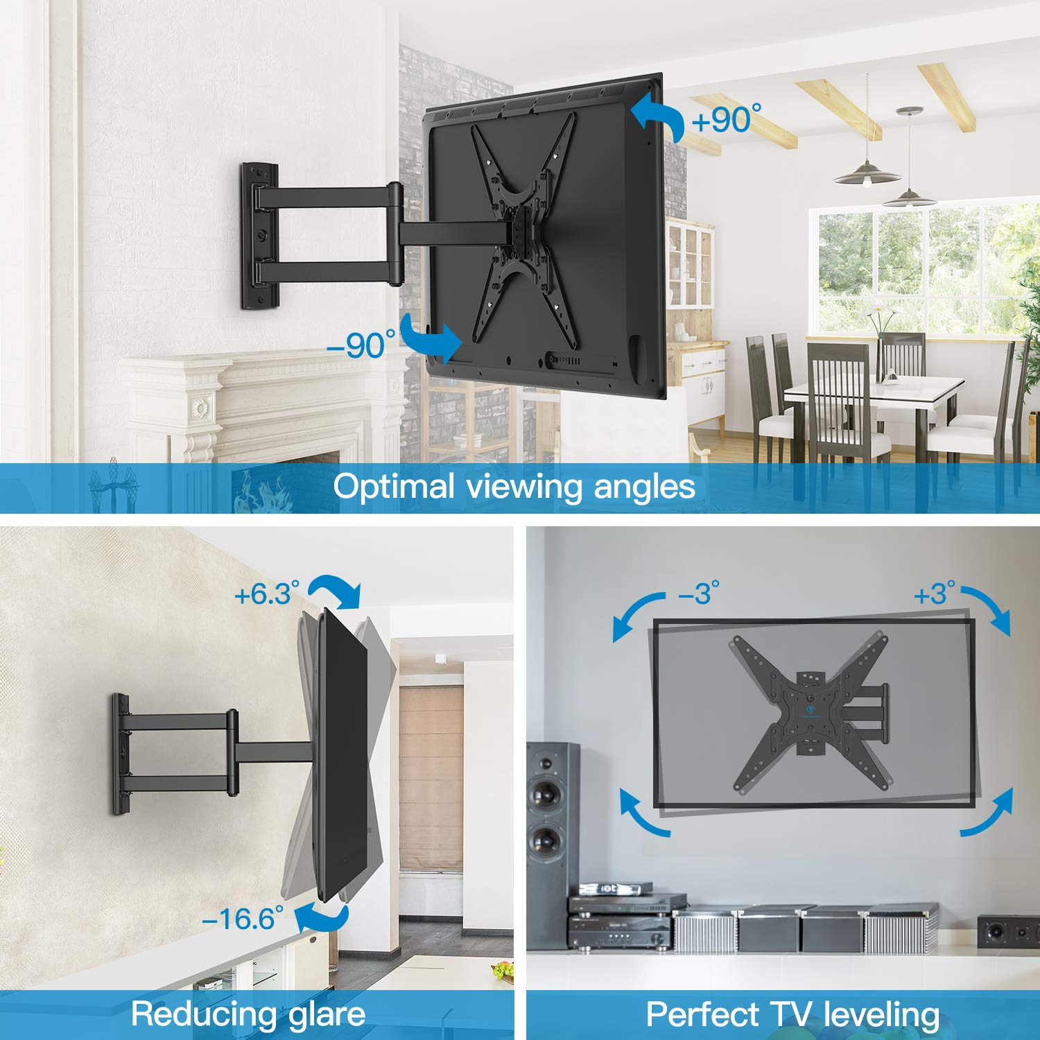PERLESMITH TV Wall Mount for Most 2655 Inch Flat Curved TVs with Swivels Tilts  Extends 195 Inch