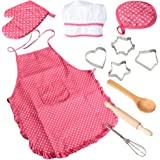 Acekid Chef Set for Kids,11pcs Girls Cooking Wear Kitchen Dress Up Role Play Costume Set for Children with Apron,Chef Hat and Cookie Cutters