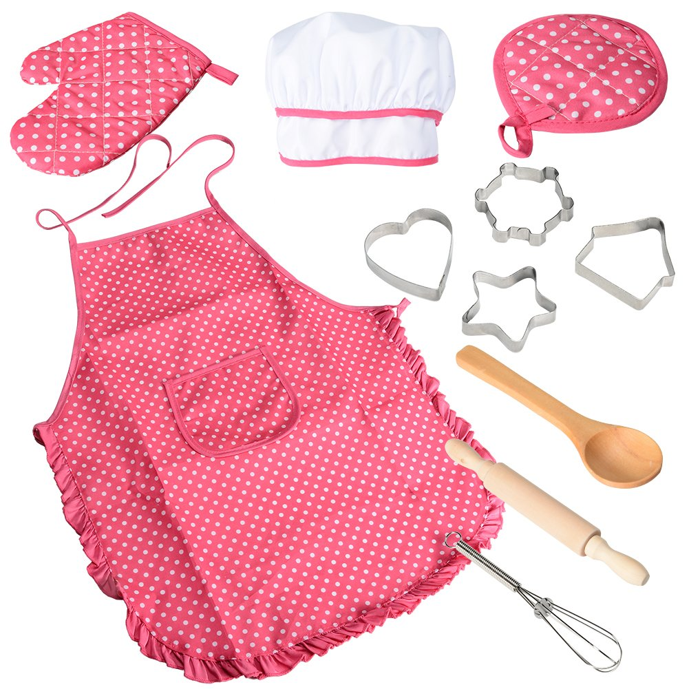 Acekid Chef Set for Kids,11pcs Kitchen Costume Role Play Kits, Girls Apron with Chef Hat,Cooking Mitt and Cookie Cutters (Rose red) by Acekid
