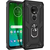 Rebex Compatible with Moto G7 Case Cover,Moto G7+ Plus Case,Tough Heavy Protective 360 Metal Rotating Ring Kickstand…