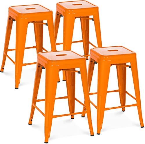 Choice Products 24in Set of 4 Indoor Outdoor Stackable Backless Counter Height Stools