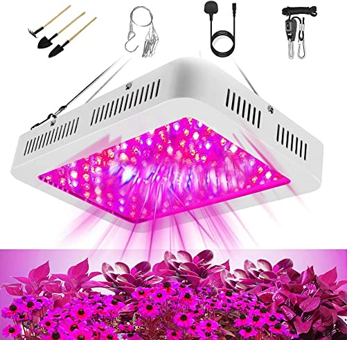 1000W LED Grow Light for Indoor Plants Full Spectrum Led Growing Lamps Hydroponic Plant Light 3 Channel Veg and Flowers 2 Switch for Succulents Adjustable Chain Hanger Daisy Chain Smart Gardens