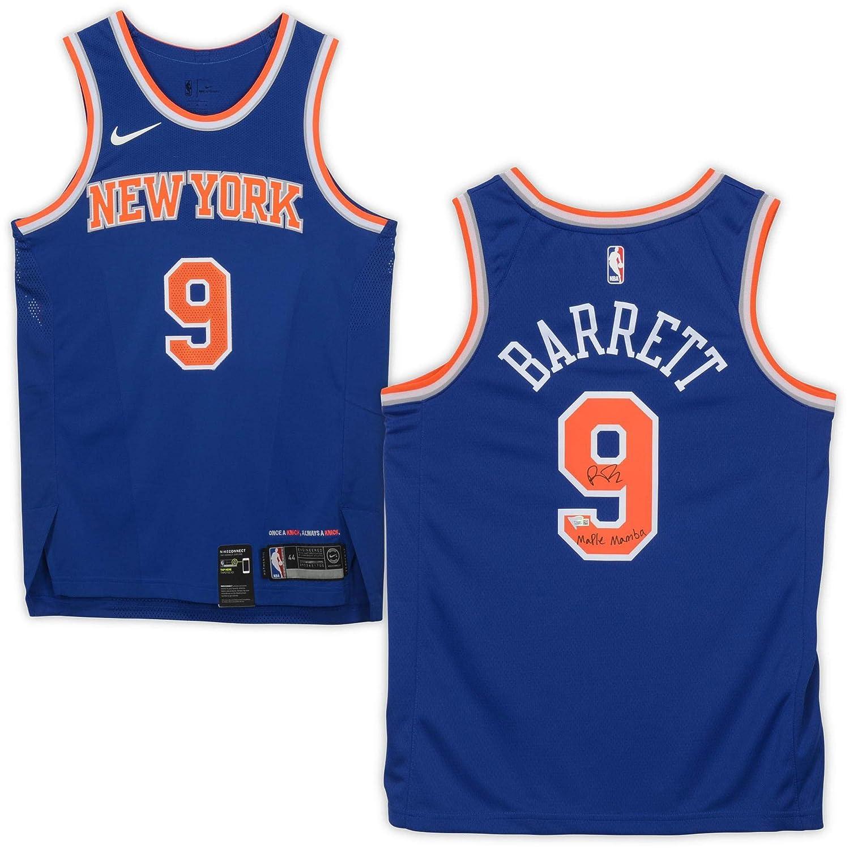 competitive price 31d55 0375f RJ Barrett New York Knicks Autographed Nike Blue Swingman ...