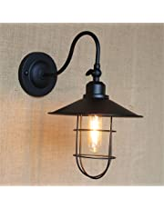 E27 Industrial Retro Creative Umbrella Shape Curved Short Arm Wall Lamp Cafe Bar Bedroom Bedside Aisle Corridor Hotel Resturant Wall Light Indoor Home Mall Office Decor Vintage Sconce,Black