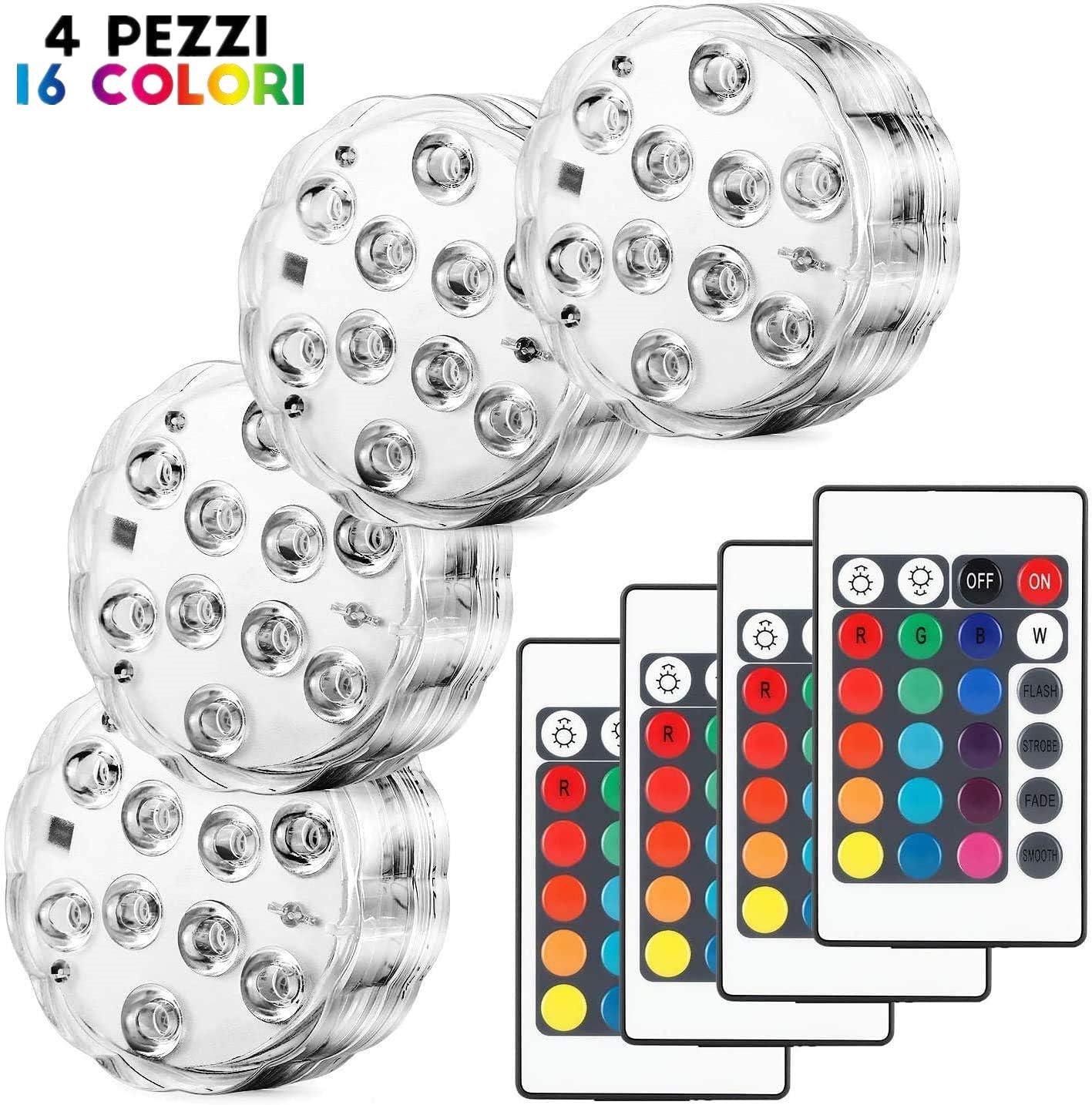 Kohree 4 x Luces Sumergibles LED Bajo El Agua Luz con mando a distancia Luz Acuario LED Piscina Impermeable IP67 Multicolor 16 Colores para Fiesta, Base de Jarrón Navidad Acuario Decoración