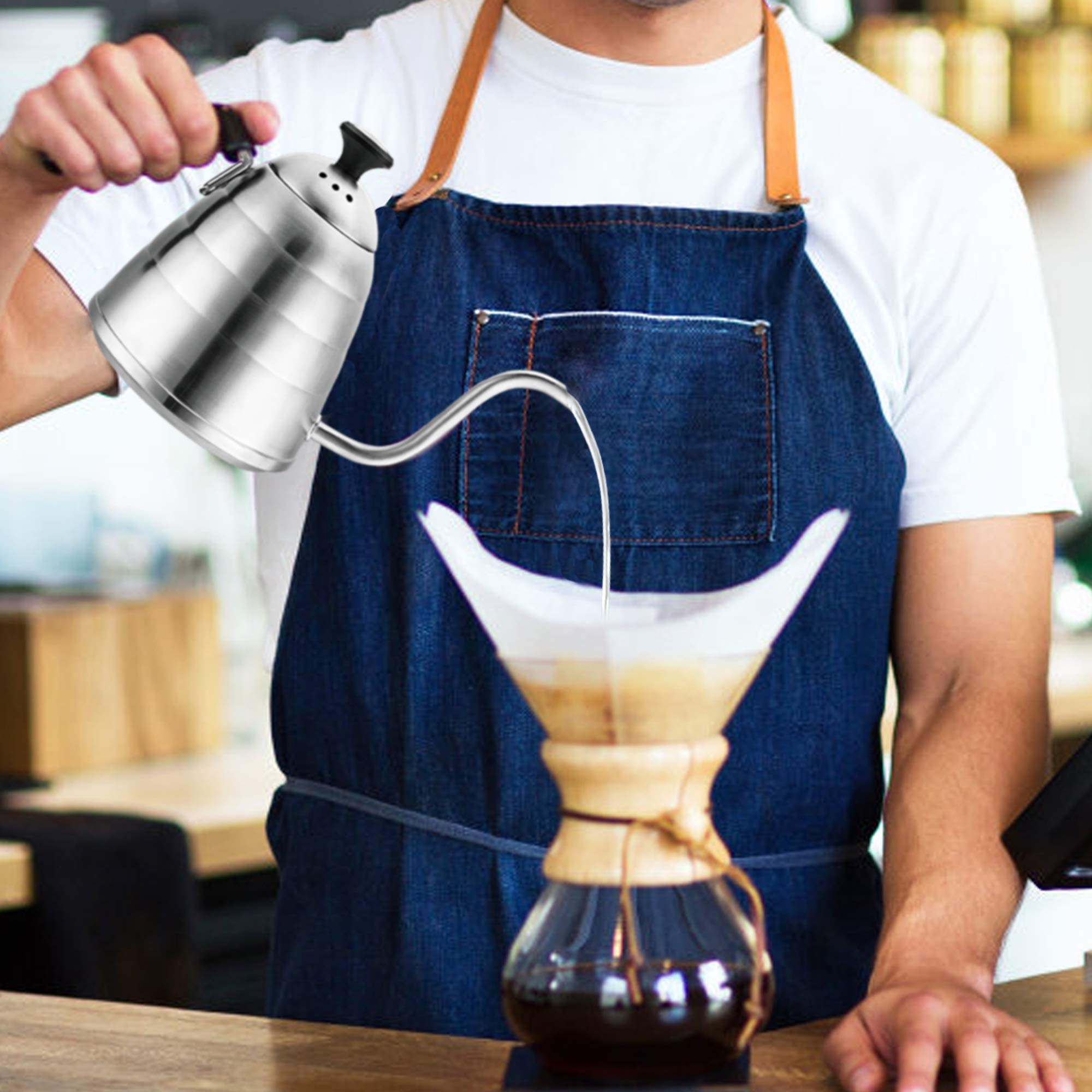 ENLOY Gooseneck Pour Over Coffee Kettle, Coffee Kettle Use for Drip Coffee and Tea, Stainless Steel Pour Over Kettle with Fixed Thermometer for Exact Temperature (34floz) by ENLOY (Image #6)