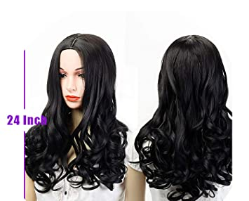 Amazon.com   Long Wave Wigs For Black Women Natural Curly Black Hair Wigs  Synthetic Heat Resistant ff994fd5d