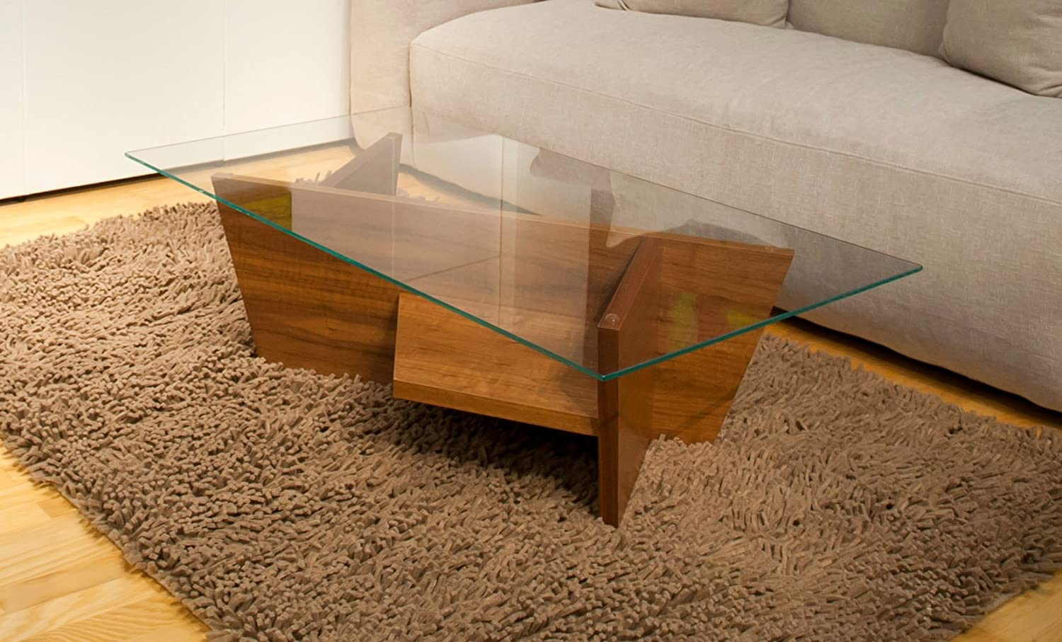 Zuri Furniture Glass Top Lexie Coffee Table - Walnut