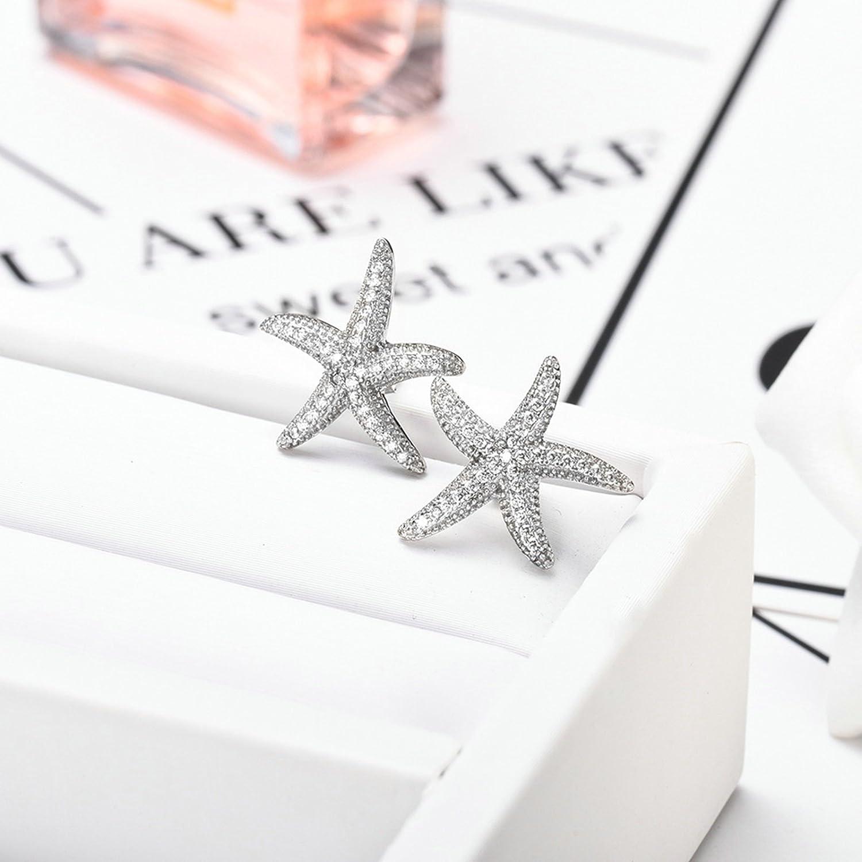 Silver Plated Cute Sea Star Starfish Ear Stud Earrings for Women Girls