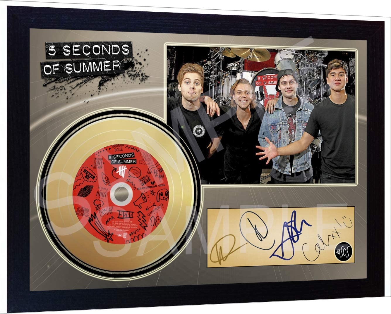 SGH SERVICES 5 Seconds of Summer Mini Gold Vinyl CD Record Signed Framed Photo Print