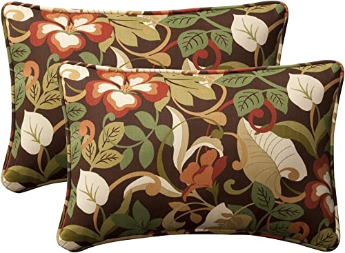 Pillow Perfect Decorative Brown Green Tropical Toss Pillow, Rectangle, 2-Pack