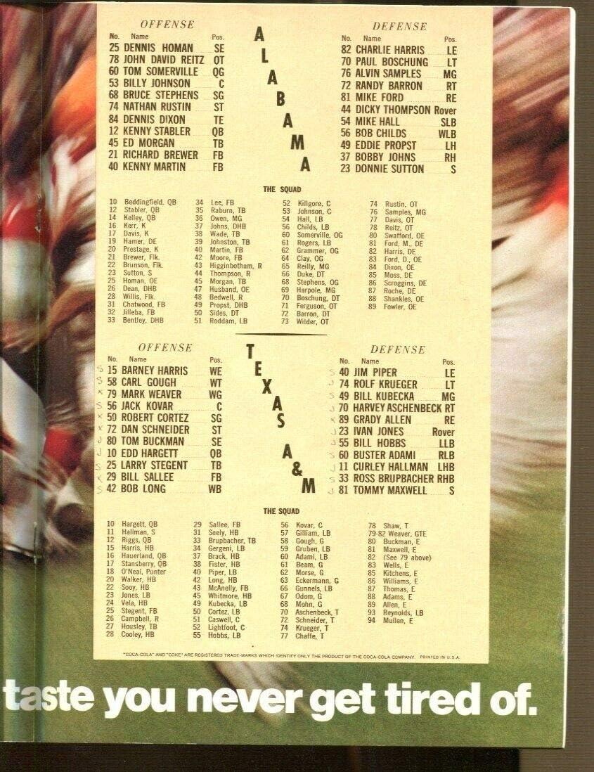 1968 Cotton Bowl Program Texas A M Aggies V Alabama Crimson Tide