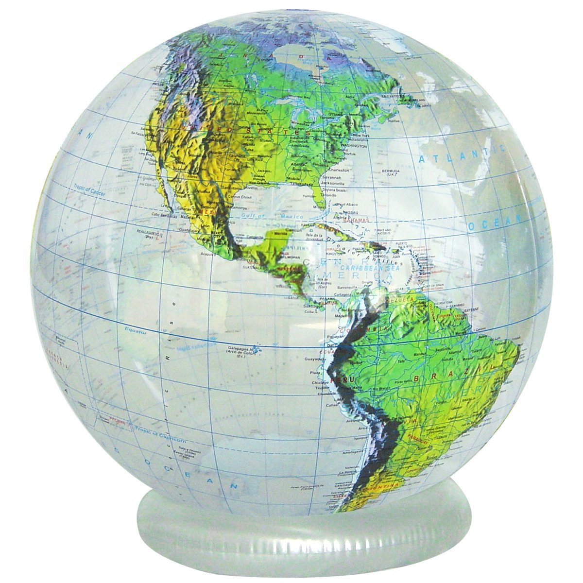Jet creations 36 inflatable globe clear topographic - Globo terraqueo amazon ...