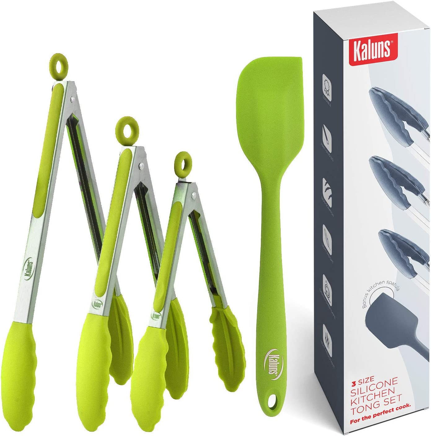 Kaluns Kitchen Tongs for Cooking, Non Stick Silicone Tip Stainless Steel Tongs, Set of Four 7,9, and 12 Inch Tong Plus Silicone Spatula Non-stick, Heat Resistant Serving Utensils