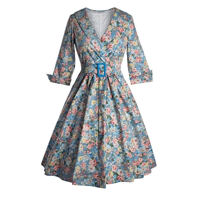 Scothen Retro florecidas de la vendimia vestido de cóctel con dibujos falda plisada vestido 40s 50s