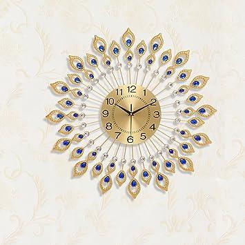 Vinteen Relojes de pared de arte Peacock reloj silencioso Salón de metal reloj Inicio arte decoración