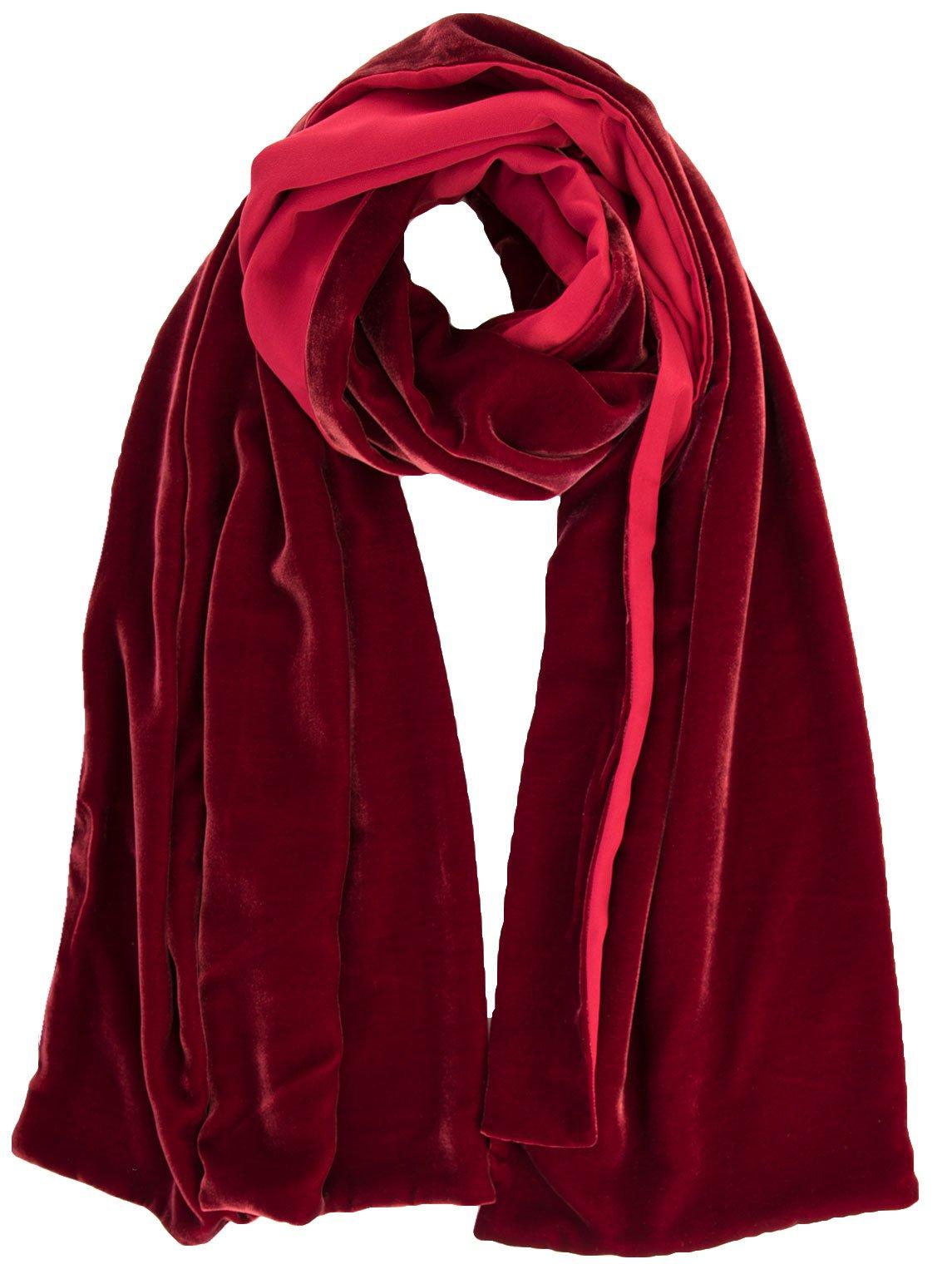 Elizabetta Womens Black Silk Velvet Evening Wrap Shawl - Made in Italy (Sophia Ruby Red)