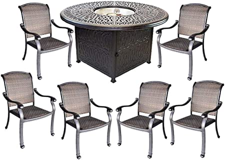Amazon Com Santa Clara Wicker Furniture Cast Aluminum Fire Pit 7 Piece Patio Dining Set Garden Outdoor