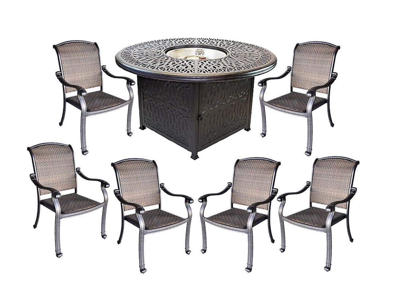 Santa Clara wicker furniture cast aluminum fire pit propane 7 piece patio dining set. by Sunvuepatio