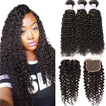 Amazon.com   Beauty Forever Hair Brazilian Curly Virgin Hair 3 Bundles Weave  with 3 Part Lace Closure for Women Natural Color Unprocessed Human Hair ... 30b4b74d48